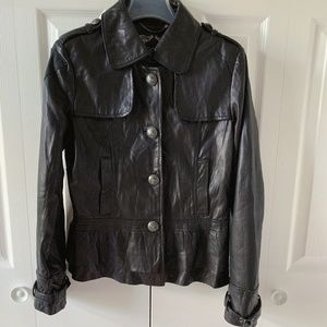 Guess genuine lamb leather ruffle jacket S